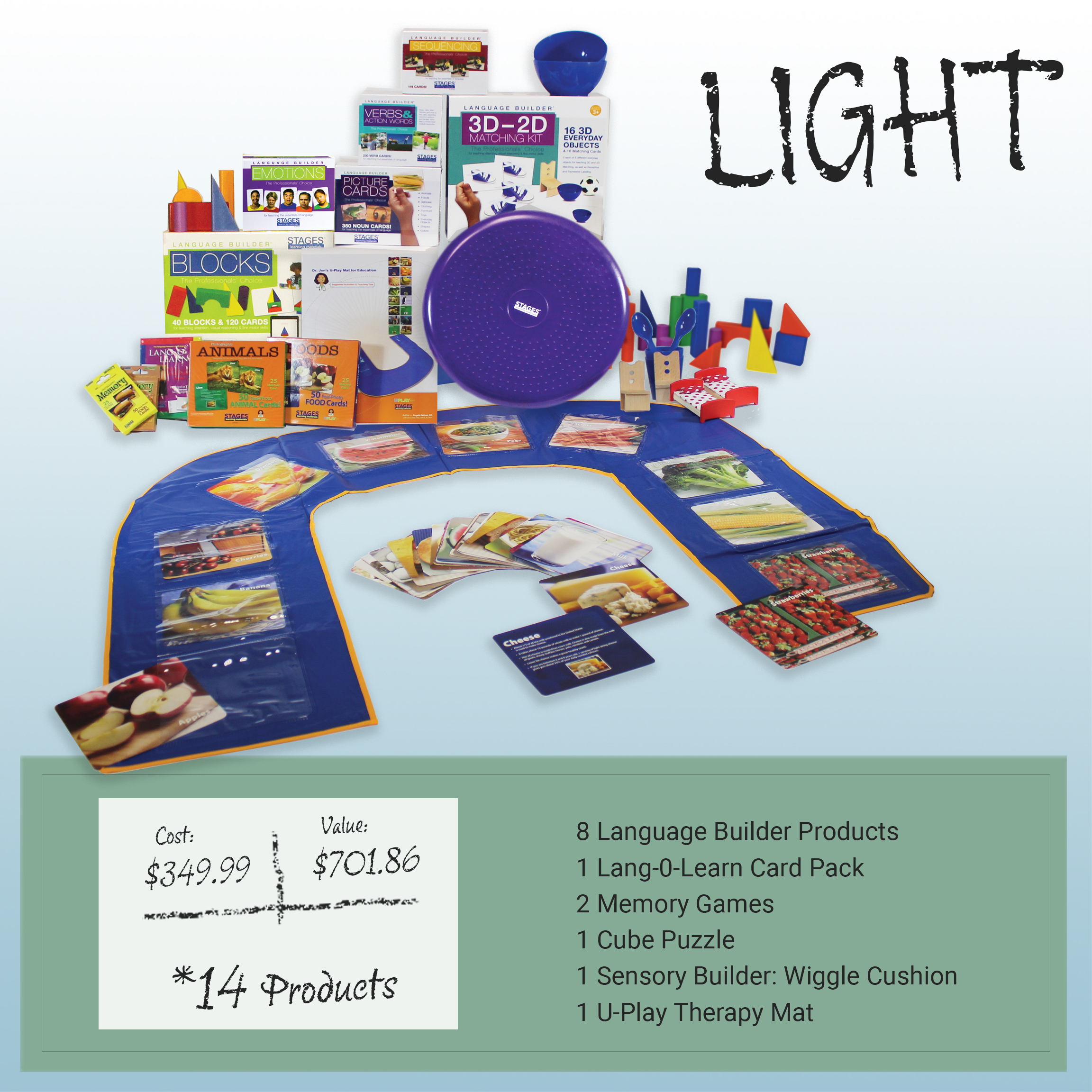 Post-it note with the price of the Light Kit. Value is $701.86. Cost is $349.99. Includes 14 products