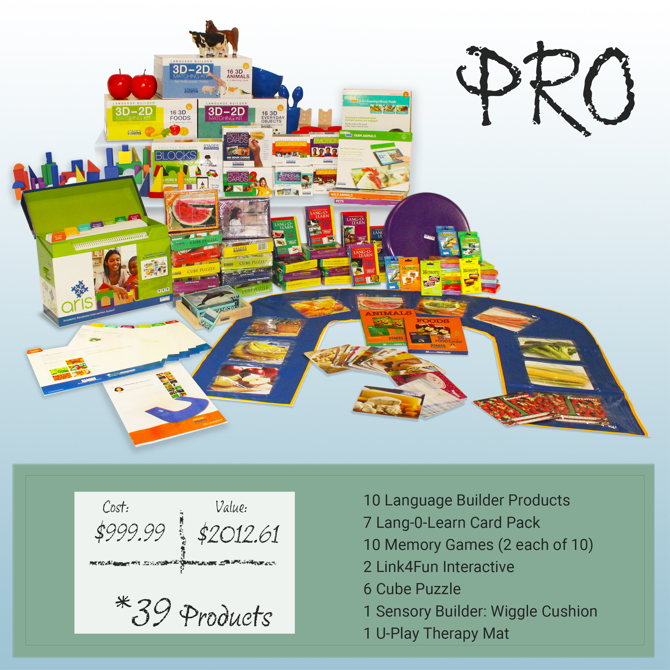 Post-it note with the price of the Pro Kit. Value is $2012.61. Cost is $99.99. Includes 39 products