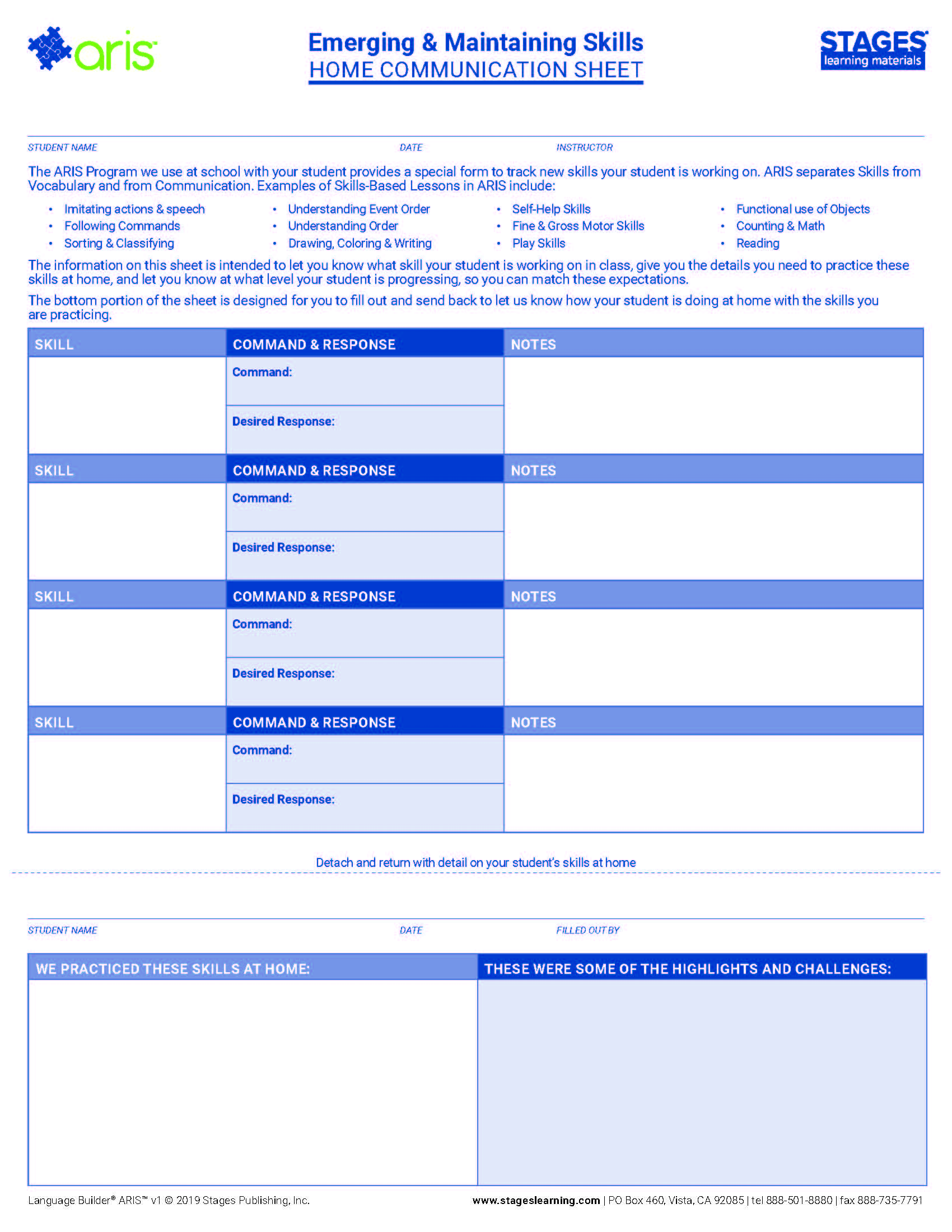 Picture of Emerging and Maintaining Skills Home Communication Sheet