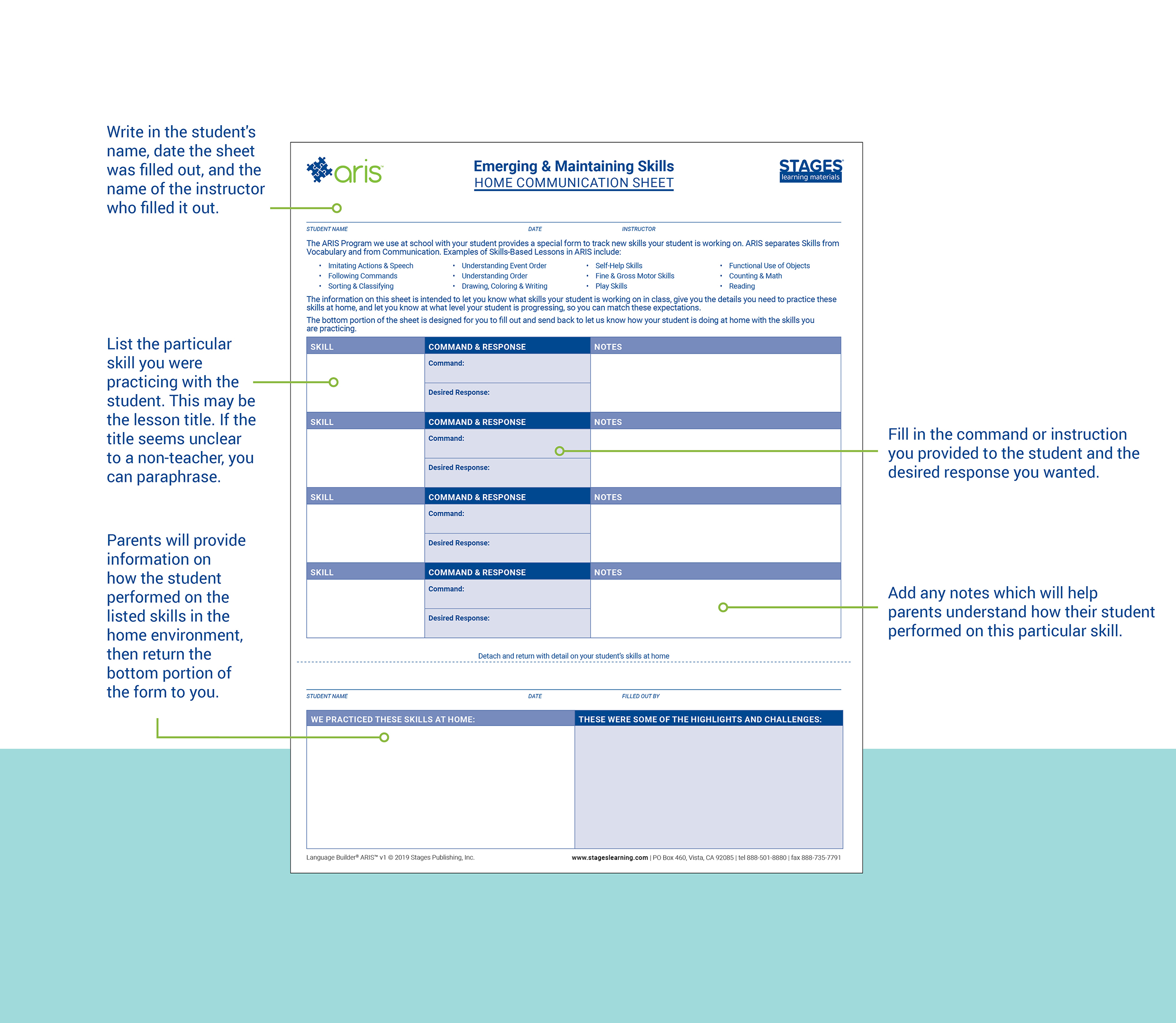 Large Picture of Emerging and Maintaining Skill Home Communication Sheet