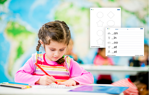 young girl working on activity sheet with close up of 2 Stages sheets