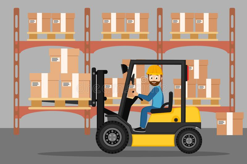 Cartoon image of forklift and driver