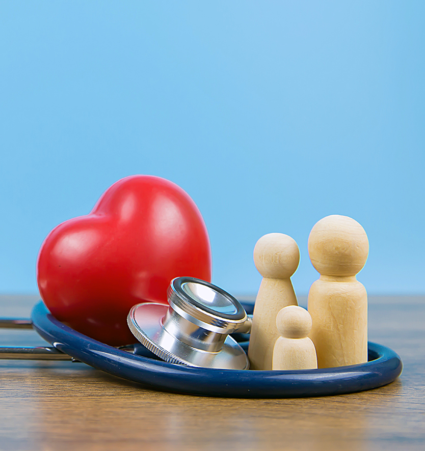 heart stethoscope and family